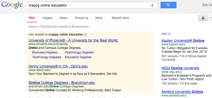 crappy online education google results
